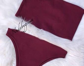 burgundy High cut bandeau bikini set, bikini, sexy bikini, beachwear, swimwear, brazilian bottom, festival bikini, bandeau top, coachella