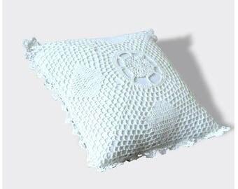 Crocheted handmade cotton, vintage pillow cushion