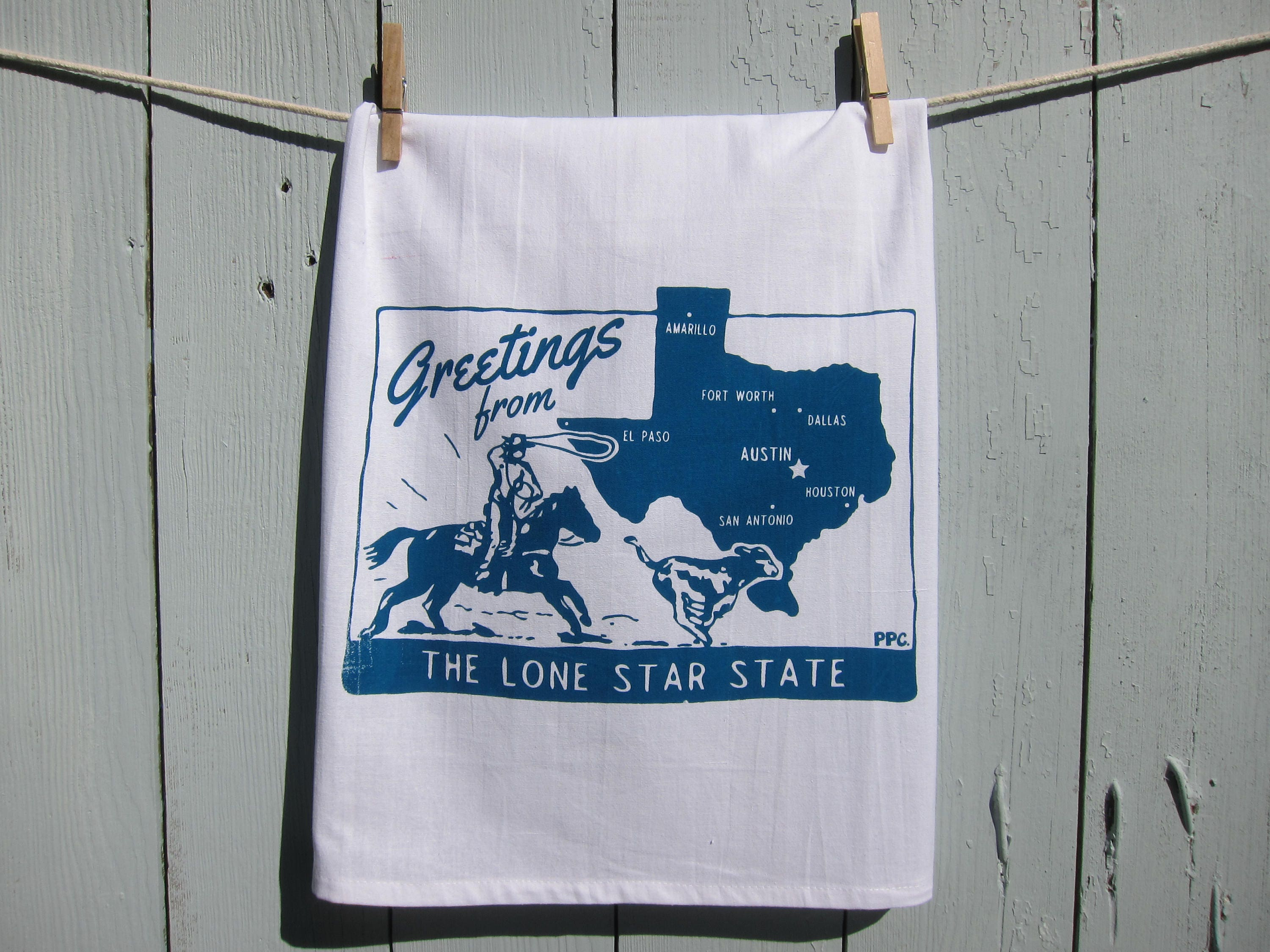Greetings from the lone star state texas tea towel kristyandbryce Gallery