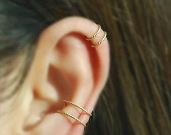 14K Gold Filled Twisted  2 Band Ear cuff,No Piercing Cartilage Earrings, Tiny Cartilage Ring,Ear Jacket, Ear Wrap