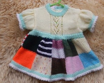 0-6 months hand-knitted patchwork dress
