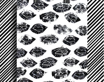 Linocut designs eyes / original / linocut eyes pattern / 24 x 32 cm / A4 size / 11.93 x 15.98 inches