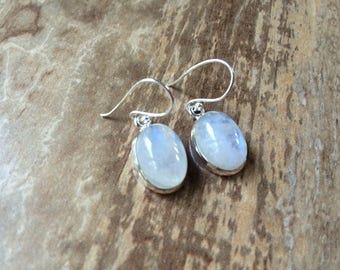 925 Sterling silver Moonstone gemstone earrings