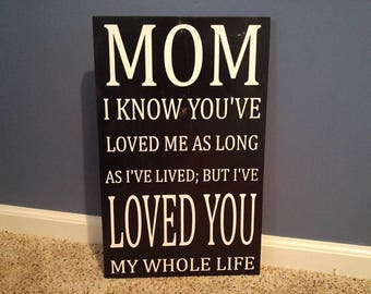 Mom I Know You've Loved Me As Long As I've Live But I've Loved You My Whole Life