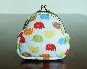 Colorful Elephant Clasp Coin Purse Small Wallet Metal Frame Pouch Kiss Lock Trinket Cotton Fabric Soft Padded for Lady by CNX2U