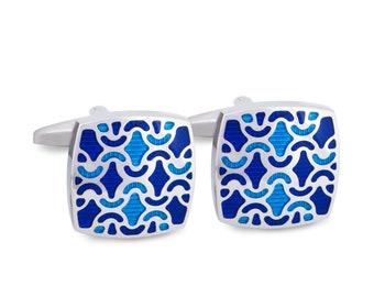 Navy Blue Enamel Painted Floral Cufflinks