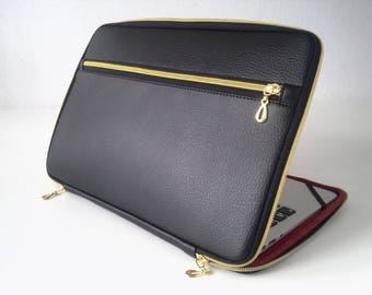 Black leather laptop sleeve with pocket,gold zipper,leather sleeve,laptop sleeve,leather laptop bag,laptop case,15,6,cover,macbook 17 inch