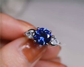Blue Sapphire Ring Sapphire Engagement Ring/ Wedding Ring Promise Ring Anniversary Ring