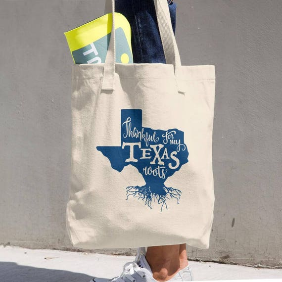 Tote Bag Texas Roots Made in the USA Cotton Tote Bag - Makes a Great Grocery Bag - Classic All-purpose Natural Cotton Tote