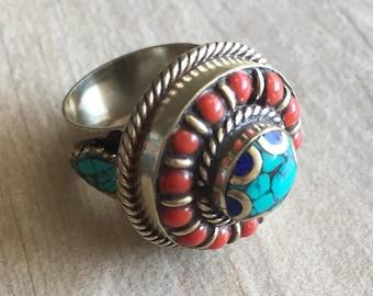 Big round stone ring, big boho stone ring, chunky stone ring