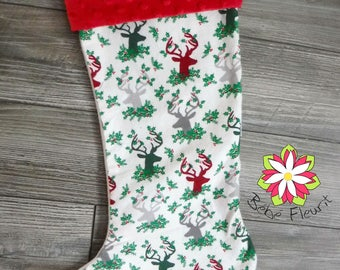 Christmas stocking with embroidered name, bas de noel