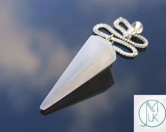 Selenite Gemstone Point Pendulum Dowsing Crystal Dowser Scrying Reiki Chakra Healing Free Uk Shipping