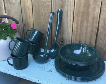 Vintage Green Enamelware - Set of Enamelware - Enamelware Plates - Enamelware Cups - Enamelware Utensils - Enamelware Bowls - Rustic Style