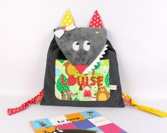 Sac fille personnalisé prénom Loup petit chaperon rouge sac à dos école maternelle Sac bébé cadeau naissance anniversaire enfant cadeau Noël