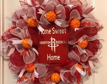 Sports Wreath, Basketball Wreath, Rockets Wreath, Decomesh Wreath, Decorative Wreath