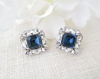 Blue crystal wedding earrings, Square navy blue bridal earrings, Swarovski rhinestone earrings, Unique Bridesmaid earrings, Wedding jewelry