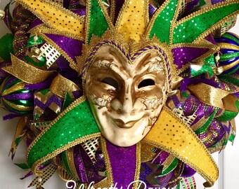 Mardi Gras Wreath Fat Tuesday New Orleans Carnival Wreath Mardi Gras Jester Wreath Home Decor Door Decor
