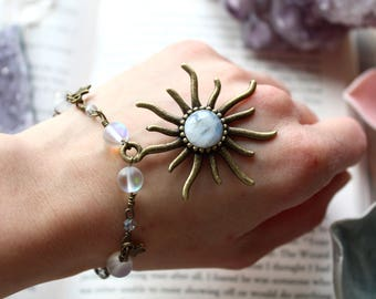 Moonstone Bracelet, Boho Sun Bracelet, Aztec Sun Bracelet, Mermaid Bracelet, Throat Chakra, Aura Bracelet, Star Bracelet, Vegan Bracelet