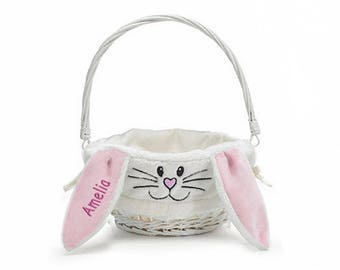 Personalized Bunny Face Easter Basket - Pink