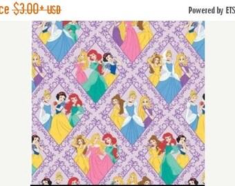 ON SALE Disney Princesses in Diamonds on Purple Fabric by Camelot Fabrics  / Disney Fabric  85100103 1 /  1 Yard Cuts, 1/2 Yard Cuts