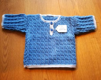 Baby boys blue crochet jumper