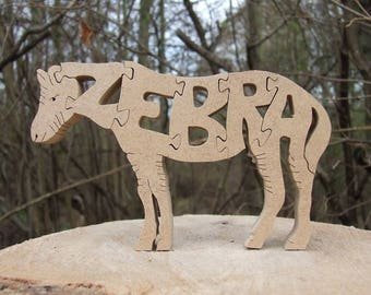 Zebra ornament, zoo animal,  zebra gift, wooden zebra, zoo ornament, zebra puzzle, zebra decoration, zebra lover gift.