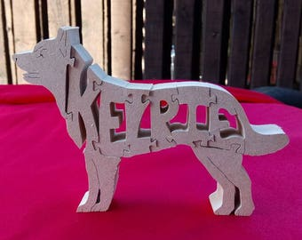 Australian Kelpie, Kelpie gift, Kelpie ornament, wooden Kelpie, wooden dog jigsaw, dog breed gift,  unique dog gift, wooden dog gift