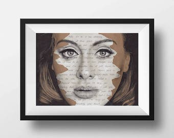 Adele Portrait ORIGINAL Drawing with Hello lyrics background - A4 size signed Art 25 Album cover