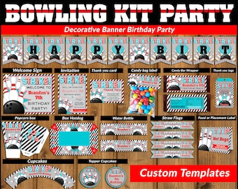 Bowling printable party kit, Bowling Party Birthday package, Bowling party kit, Party package, Bowling kit party package.