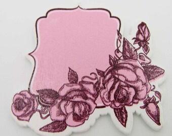 5 Embellissements BOIS Etiquettes 53mm ROSES scrapbooking