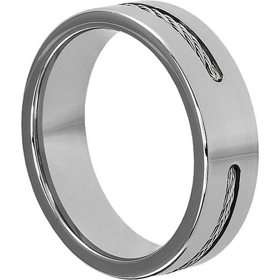 Custom Cable Inlay Tungsten Wedding Band 7mm Width Mens High Polished Finish Steel Rings For Men