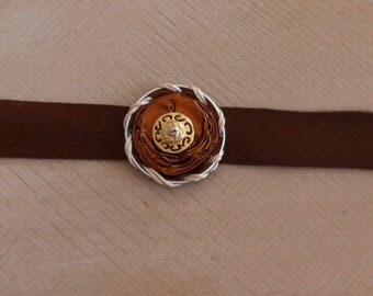 Bracelet capsule upcycled nespresso and genuine leather