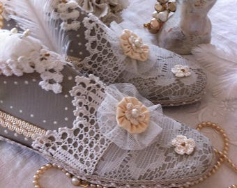 Shoe form shoe customized spike needle shabby chic