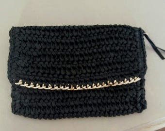 Black crocheted pouch bag