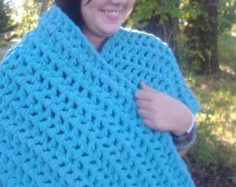 Crochet Wrap Cowl Shawl Asymmetrical Warm and Soft, Claire Inspired Cape, Handmade Crochet, V-Shape Wrap