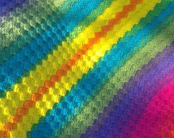 Handmade Rainbow Diagonal Blanket Soft Crochet Knit Blanket Throw Blanket Chunky Baby Nursery Baby Shower Gift Handmade Ready to Ship