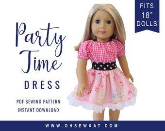 Sewing Pattern for 18 inch Doll Clothes Party Time Peasant Dress Easy to Sew doll clothes by OhSewKat Party Dress Sewing Pattern for dolls