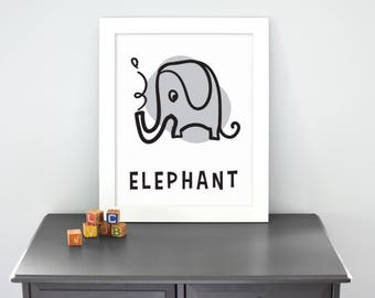 Elephant - Illustrated Print