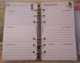 Week Planner 2018 Weekly Refill dated Gen/Dec 2018 with 2-page views