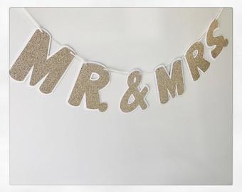 Mr. & Mrs. Banner; Wedding Banner; Bridal Shower Banner; Bachelorette Party ; Gold Glitter Banner; Engagement Banner; Photo Banner