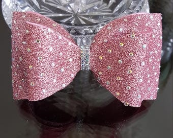 Pink Gold Tailless Cheer Bow
