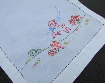 "1960's Embroidered Lamb Linen Table Runner, Hemstitched/ Hand Embroidered red green flowering field white dresser scarf/ 15"" x 35"""