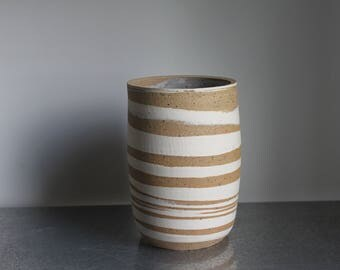 Marbled clay vase/ utensil holder