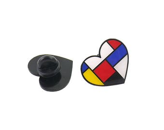 SPECIAL PRICE Mondrian Heart Enamel Pin Lapel Pin