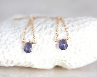 Iolite Earrings, 14K Gold Filled Chain Earrings, Blue Gemstone Dangle Earrings, Iolite Gold Drop Earrings