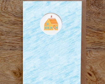 HOME Greeting Card, House Card, New Home Card, Notecard, Collage, Illustrated, Blank, Birthday, Die Cut
