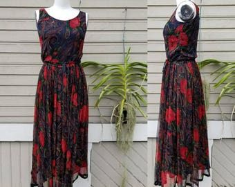 Vintage 70s Silk floral skirt and tank dress set // small
