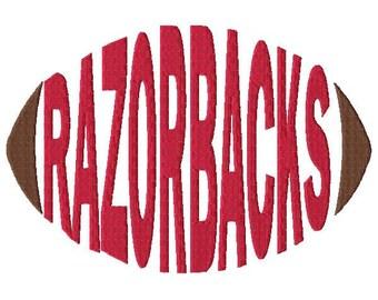 Razorbacks Football - Embroidery Design - Word Art - Word Design - 5x7 Hoop - 6x10 Hoop - Instant Download - Football - Spirit Towels
