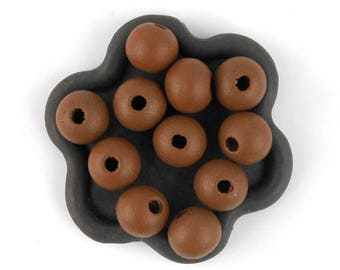 x 50 (40) 10mm Brown wooden bead