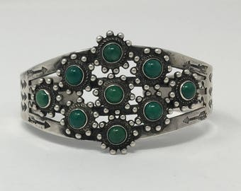 Ca. 1940's Native American Sterling Silver Fred Harvey Era Natural Turquoise Multi Stone Cuff  Bracelet